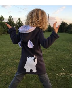 Bluza/płaszczyk z kapturem i uszkami misia z kolekcji Happy Bear
