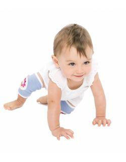 Antypoślizgowe ochraniacze na kolana KNEEKERS® dla raczkujących niemowląt -fioletowe, kwiatki, pulchne kolanka- Ah Goo Baby