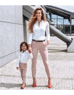 eleganckie spodnie pudrowy róż