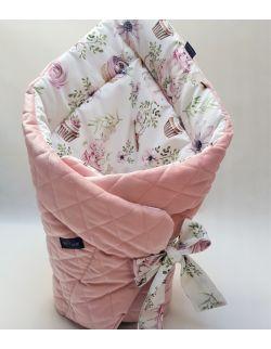 ROŻEK niemowlęcy 75x75 cm Urodzinowe Myszki z Ultra soft Velvet smoky róż caro