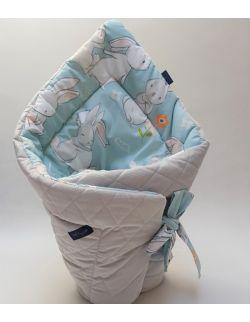 ROŻEK niemowlęcy 75x75 cm Cut Hares z Velvet szary pikowane caro