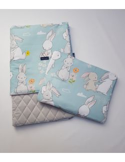 Komplet KOC light 75x100 cm poduszka 30 x 40 cm Cut Hares Velvet pikowany caro kolor jasno szary
