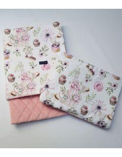 Komplet KOC light 75x100 cm poduszka 30 x 40 cm Urodzinowe Myszki Velvet pikowany caro kolor smoky roz