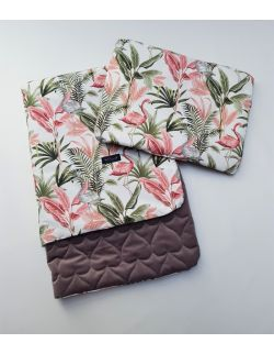 Komplet KOC light 75x100 cm poduszka 30 x 40 cm Flamingi Velvet pikowany serca kolor cappuccino