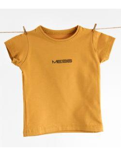 """karmelowy tshirt dziecięcy z haftem """"MESS"""""""