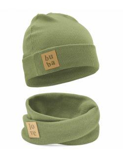 Dziecięca czapka z kominem-oliwka.