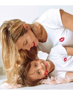 T-shirty z haftem KISS zestaw Mama i Dziecko kolor biały