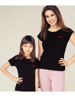 T-shirty z haftem KISS zestaw Mama i Dziecko kolor czarny