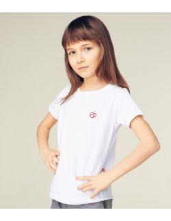 Dziecięcy T-shirt z haftem złączone serca