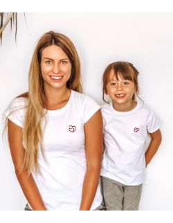 T-shirty z haftem złączone serca zestaw Mama i Dziecko kolor biały