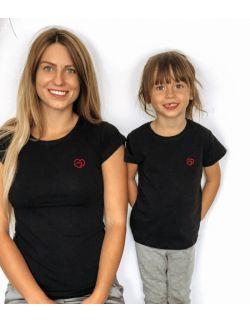 T-shirty z haftem złączone serca zestaw Mama i Dziecko kolor czarny