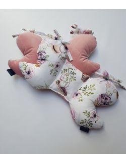 Poduszka Motylek Urodzinowe Myszki z velvet smoky Róż pikowany caro