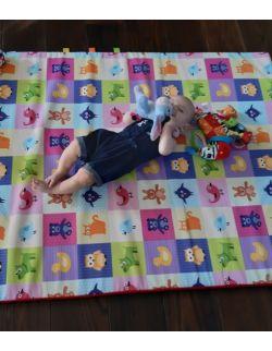 Materac/mata na podłogę do zabawy dla dziecka kolorowe kwadraty ze zwierzątkami/ kółka na szarym tle (dostępne 4 rozmiary)