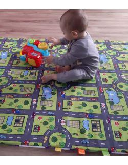 Materac/mata na podłogę do zabawy dla dziecka droga-miasteczko/ kolorowe kółka na szarym tle (dostępna w 4 rozmiarach)