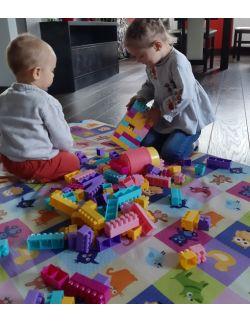 Materac/mata na podłogę do zabawy dla dziecka kolorowe kwadraty ze zwierzątkami/ droga-miasteczko (dostępna w 4 rozmiarach)
