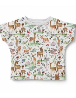 Koszulka dziecięca- wzór las/jelonki.