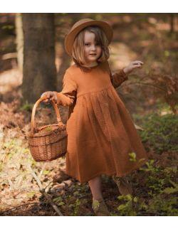 Karmelowa muślinowa sukienka