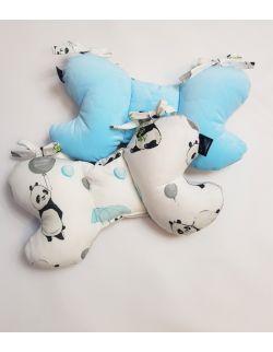 Poduszka Motylek Pandy velvet błękitny pikowany korony
