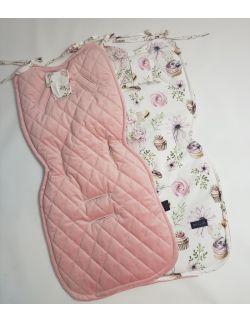 Wkładka do wózka Myszki ultra soft velvet smoky róż pikowany caro