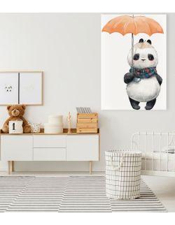 Obraz Jesienna panda z parasolką 80x120 cm