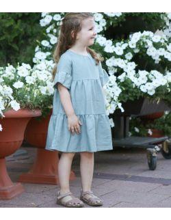 Falbaniasta sukienka w kolorze szałwiowym