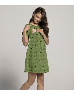 Koszula nocna do karmienia piersią LATO zielona 1