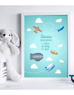 """Metryczka """"wśród chmur"""" - 30x40cm"""