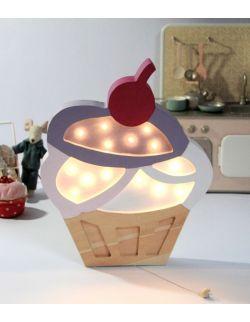 Drewniana lampka cupcake