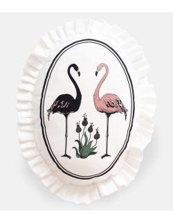 Poduszka dekoracyjna La Lune z falbaną - Flamingi
