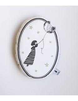 Poduszka dekoracyjna La Lune - Dziewczynka z Księżyca