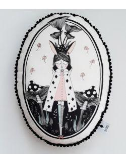 Poduszka dekoracyjna La Lune z pomponikami - Magiczny Las