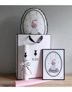 Zestaw Jednorożec poduszka z pomponikami + plakat A4