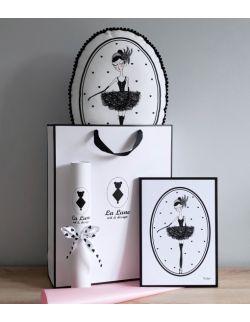 Zestaw Baletnica Czarny Łabędź poduszka z pomponikami + plakat A4