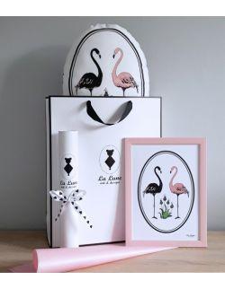 Zestaw Flamingi poduszka + plakat A4