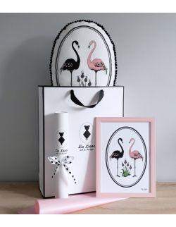 Zestaw Flamingi poduszka z pomponikami + plakat A4