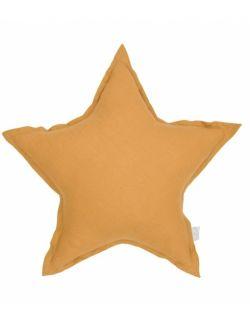Lniana poduszka gwiazdka karmelowa