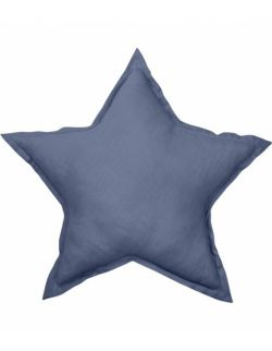 Lniana poduszka gwiazdka denim