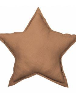 Lniana poduszka gwiazdka czekoladowa