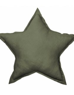 Lniana poduszka gwiazdka oliwkowa