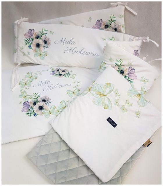 Komplet do łóżeczka mała królewna - kocyk, poduszka, ochraniacz z ultra soft velvet szary pikowany caro