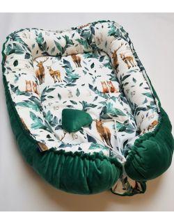 Kokon dwustronny jelonki - leśne zwierzątka z ultra soft velvet zielony pikowany caro