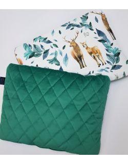 Poduszka Średnia 30x40cm jelonki - leśne zwierzątka z ultra soft velvet zielony pikowany caro
