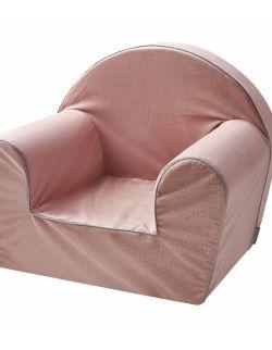 Piankowy fotelik w miękkiej tkaninie minky - brudny róż