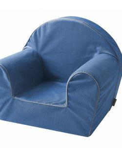 Piankowy fotelik w miękkiej tkaninie minky - denim