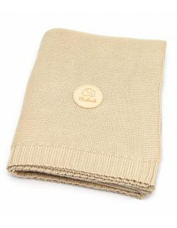 Bawełniany kocyk beżowy - piaskowy 100% bawełny
