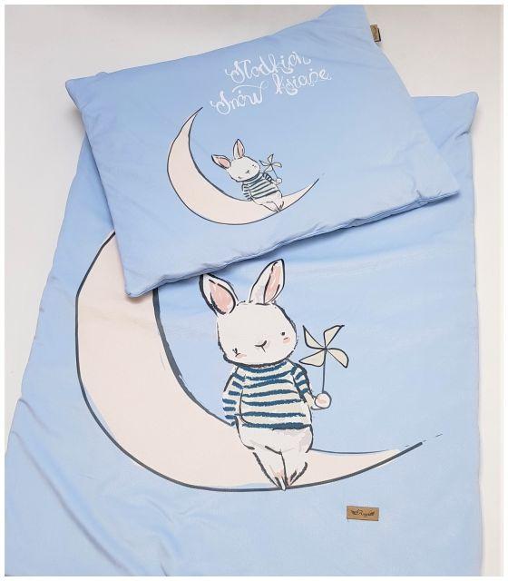 Komplet do łóżeczka słodkich snów książę - kocyk i poduszka z velvet błękit pikowany w korony