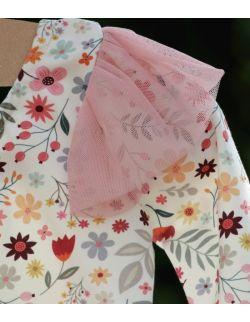 Śmietankowe body w kwiatki z różowym tiulem