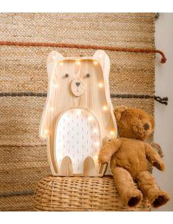 Drewniana lampka Miś - Biały brzuszek