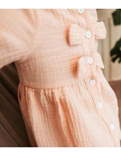 By Royal Baby Elegancka Muślinowa Sukienka dla dziewczynki z kokardką