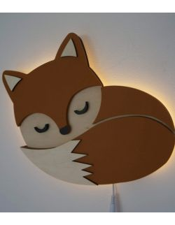 Drewniania lampka rudy lisek
